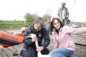 WRAS rescuers Trevor and Kathy with the swan (Photo: Gavin Bruce, BDMLR)