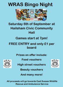 WRAS Bingo Night 6th September 2014