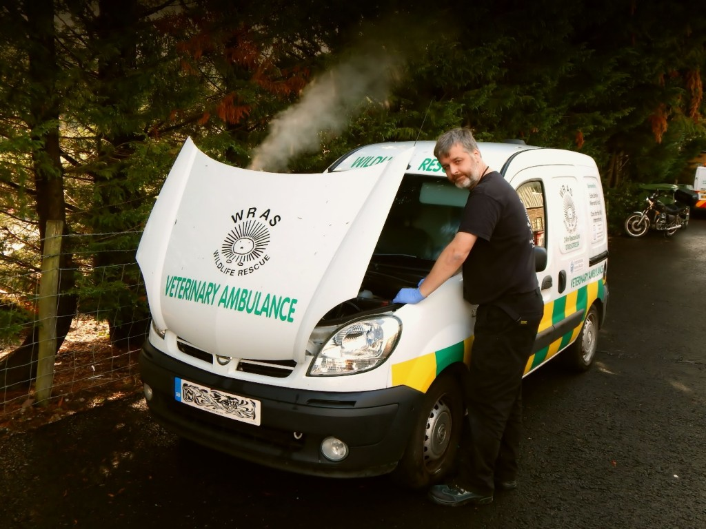 WRAS's Trevor Weeks with a Broken Down Ambulance