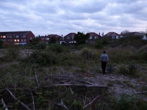 The waste ground where the fox cub was hiding.