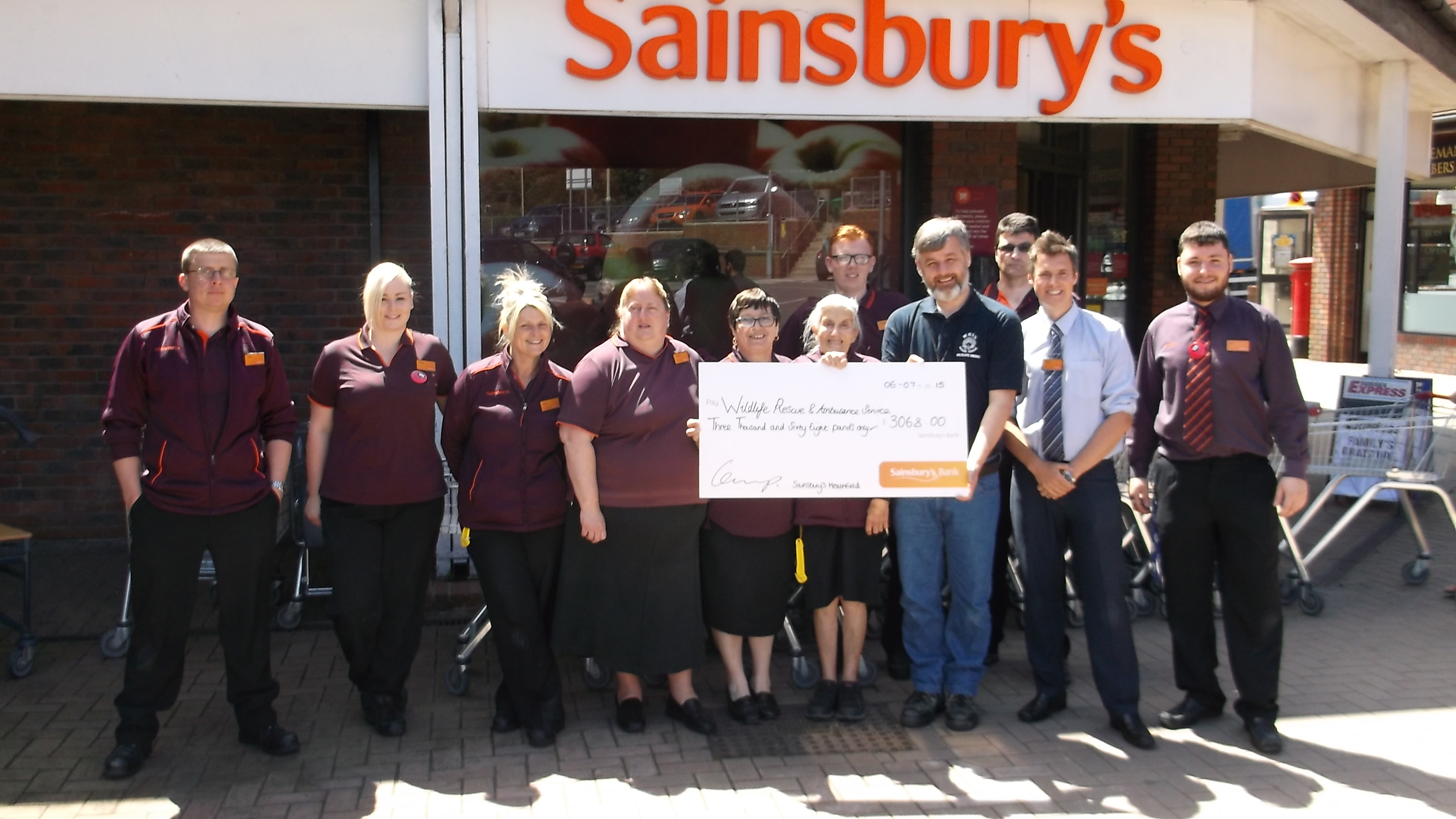 Sainsbury's Heathfield Store present a cheque to WRAS's Trevor Weeks