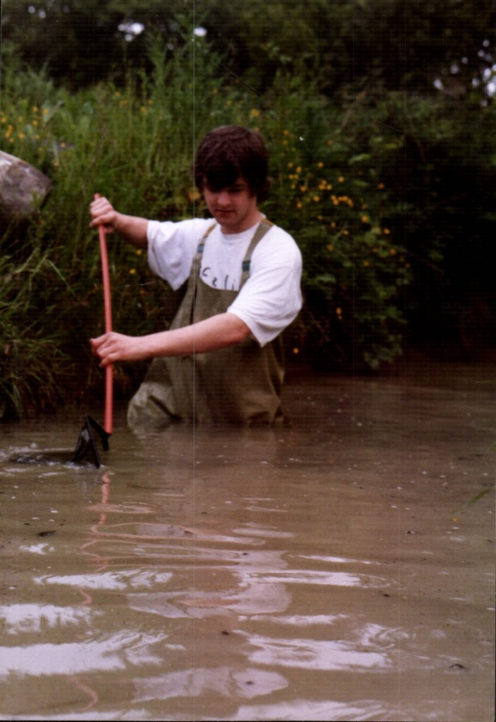 Trevor Weeks rescuing some newts in Hailsham Late mid 1990s